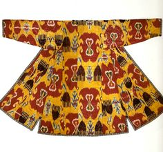 Uzbek Woman's robe, uzbek IKAT. Samarkand, second half of the 19th century. Adras semi-silk fabric. 130x168 cm, fabric width 40 cm. Catalog - IKATS from Turkestan, Tair F. Tairov collection.