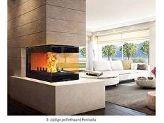 Penisola drie zijdige  hout en pellet haard  14 kW