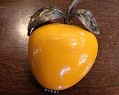 vintage Costume Jewelry Fruit Brooch - Orange fruit Apple or Nectarine Brooch - Free Shipping