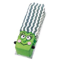 "On Halloween, the Bride Says ""I Boo."" Sure to set the party scene, Mrs. Frankenstein gets her shape using Wilton's Long Loaf Pan. This cake is rated FUN and EASY!"