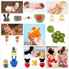 2016 New Soft Baby Newborn Baby Photography Accessories Hat Children Cap Clothing Newborn Clothing Crochet For Girls / Children