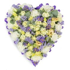 Warmest Condolences Tribute #heart #tribute #purple #flowers #roses #carnations #chrysanthemums #lisianthus #sympathy