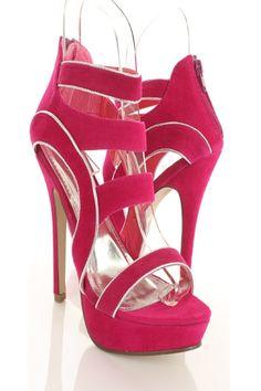 Fuchsia Velvet Faux Leather Foil Cutout Platform Heels http://www.amiclubwear.com/shoes-heels-rf-keypointfuchsia.html#