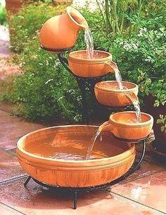 Terracotta Cascade Outdoor Solar Water Fountain #WaterFountain #Yard #Garden #Landscaping #OutdoorLiving