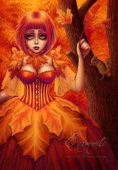 Enamorte ~ Fantasy Artist and Author on deviantART Dark Gothic Art, Dark Art, Orange You Glad, Orange Is The New, Goth Art, Orange Crush, Woodland Creatures, Cosplay, Artist Art