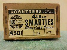 VINTAGE, ORIGINAL ROWNTREE'S SMARTIES CARDBOARD BOX