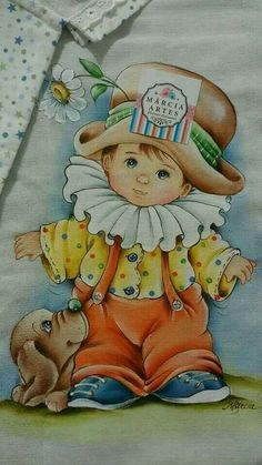 Embroidery Pattern from Pinturas de bebê Painted Version Designer Marica Sueli Trying to find Website and Marica Artes. Baby Painting, Fabric Painting, Brother Innovis, Stitch Games, Drawing Scenery, Clown Party, Disney Colors, Hand Embroidery Patterns, Vintage Cards
