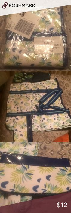 Super Tote with zipper pouch and draw stringbag This bag is beautiful and as you can see it is new until I took it out of the bag to snap pictures. Shades of blue with lime green. Perfect for summer time fun. Non smoking home Unknown Bags Totes