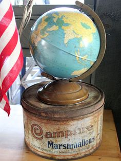Itsy Bits and Pieces: A Little Red, White, and Blue. Globe Art, Map Globe, Vintage Globe, Vintage Tins, Global Decor, Little Planet, World Globes, Metal Tins, Map Art