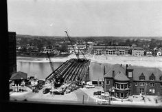 Aerial view of Main St. Bridge construction in 1957 with Station 4 in the right foreground Bridge Construction, Dayton Ohio, Aerial View, Historical Photos, Paris Skyline, Roots, Maine, Houses, In This Moment