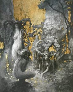 Exquisite gold plated fantasy illustrations by Yoann Lossel - Bleaq Gold Leaf Art, Gold Art, Fantasy Paintings, Fantasy Art, Occult Art, Fantasy Illustration, Art Graphique, Gravure, Art Plastique