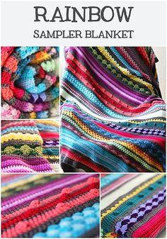 Free crochet pattern: Rainbow sampler blanket | Haak Maar Raak | Bloglovin'