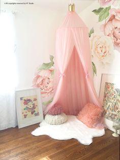 Decorative Blush Pink Baldachin with Crown Scandinavian Nursery Room Decor Children play room canopy decor canopy Photo Props