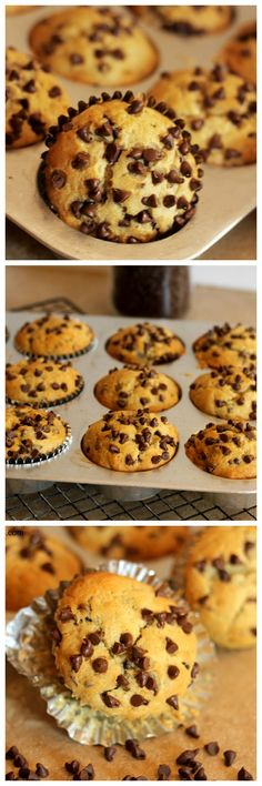 Banana Chocolate Chip Muffins - Made with whole wheat or all purpose flour. Healthy and delicious! - carmelmoments.com