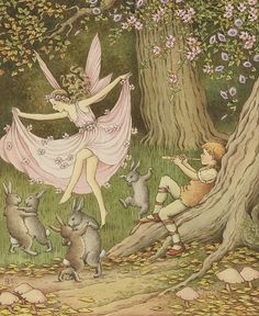Fairies and rabbits dance to the piper.