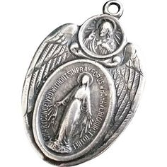 Large Sterling  Miraculous Medal with Angel Wings