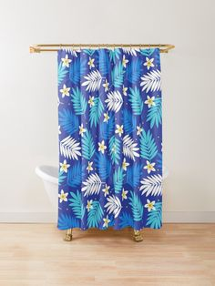 Summer Pattern with small white flowers and foliage in classic navy blue. Palm leaves and Tropical flowers. Blue Shower Curtains, Custom Shower Curtains, Small White Flowers, Summer Patterns, Tropical Flowers, Palm, Navy Blue, Leaves, Artists