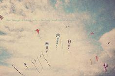 Children's Room Art, Nursery Decor, Nursery Art, Flying Kites, Kites Flying, Wind In The Sky, Gift For Her, Gift For Him, Typography Photo