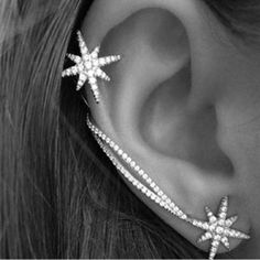"""Star rope"" crystal snowflake earrings ear clip"