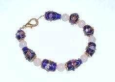 Handmade Beaded Bracelet with Cobalt Blue Lampwork by terririchard, $8.50