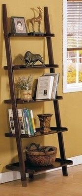 5 Tier Ladder Shelf Home Decor Solid Wood Room Bookcase Shelving Storage New