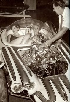 ed big daddy roth and his hot rod the beatnik bandit, circa 1960s. roth's custom cars were always chick magnets.