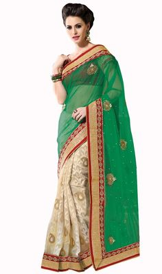 Grab the second look in this beige and green art silk banarasi silk half n half sari. The lovely lace, patch and stones work a substantial feature of this attire. Upon request we can make round front/back neck and short 6 inches sleeves regular saree blouse also. #WeddingColorOfDesignerTrendsetterSari