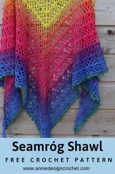 Seamróg Shawl – Free Crochet Pattern for a Lace Triangle Shawl – Annie Desi… , Crochet Shawl Free, Crochet Shawls And Wraps, Basic Crochet Stitches, Crochet Basics, Easy Crochet, Knit Crochet, Crocheted Scarf, Unique Crochet, Crochet Scarves