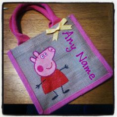 Peppa Pig Hand painted Jute Bag, Christmas present, limited!!! | eBay