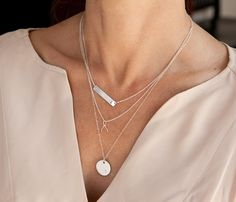 """Available Colors: Silver (3-necklace layered set) Length: Bar necklace & Wishbone are 16"""" + 2"""" extender long. Silver Disc is 20"""" long. Materials: All sterling silver. Customization: Up to 6 letters on"""