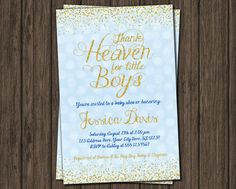 Thank Heaven for Little Boys Baby Shower Invitation by PuggyPrints on Etsy