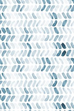 Navy Blue Watercolor Herringbone by laurapol - Blue watercolor strokes on fabric, wallpaper, and gift wrap.  Hand painted watercolor strokes in a herringbone pattern.