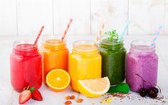 Download imagens Smoothies de frutas, diferentes smoothies, alimentos saudáveis, bebidas, batidos