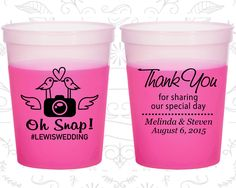 Thank you for Sharing Our Special Day, Promotional Color Changing Cups, Hashtag Wedding, Oh Snap Wedding, Camera, Magenta Mood Cups (07)