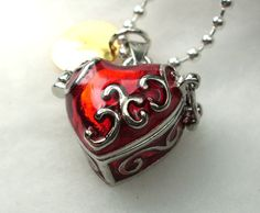 Personalized Red Heart Pendant Locket Charm by CharmAccents, $20.00