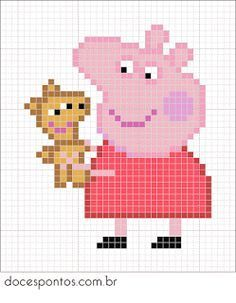 Peppa e seu ursinho ♥ Beaded Cross Stitch, Cross Stitch Charts, Cross Stitch Designs, Cross Stitch Embroidery, Embroidery Patterns, Cross Stitch Patterns, Hand Embroidery, Hama Beads Design, Diy Perler Beads
