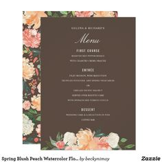 Spring Blush Peach Watercolor Florals Menu Gray Card French Grey perfect for any event, customize the backer, change the color and/or remove the pattern.