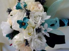 Turquoise Wedding Flowers silk Bridal bouquet Black by AmoreBride