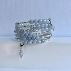 Smoky Blue & Silver Wrap Around Memory Wire Beaded Bracelet