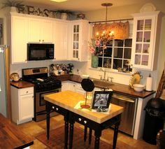 See even very small kitchens can be fixed up nice and cozy, just use your imagination and you can make anything look nice!