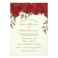 #invitations #wedding #bridalshower - #Red roses floral ivory wedding invitation