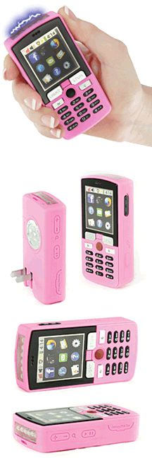 But I think I'll stick with pepper spray for NOLA! Pink Cell Phone Stun Gun Million volts Rechargeable Spy Gadgets, Cool Gadgets, Hidden Weapons, Pink Guns, Phone Deals, Everything Pink, Self Defense, Pretty In Pink, Just In Case