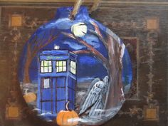 This is a Dr. Who inspired, hand painted wooden ornament.
