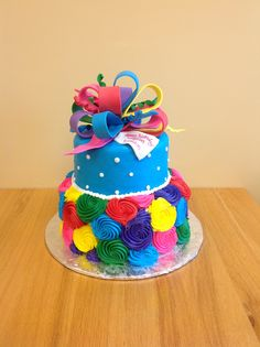 Bright Colored Bow Cake by Sara's Sweet Bakery Grand Rapids MI