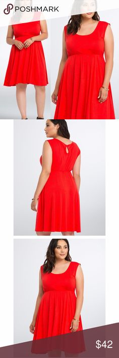 """New TORRID Red Sunglasses Skater Tank Dress NWT available in size 00 (M/L 10) or 0 (L 12) condition: new with tags  his dress is so bright with a red knit, we gotta wear shades (or a shade print, at least). The skater fit stays easy-breezy with a gathered waist and a keyhole back. The heart shaped sunglasses print keeps you protected from any shade-throwing.  size 00: bust 36, waist 26-40, hips 72, length 39  size 0: bust 38, waist 28-44, hips 76, length 40  Model is 5'10"""", size 1…"""