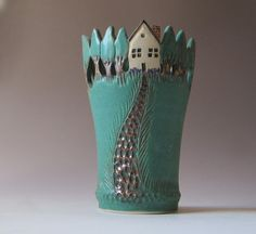 Arts and Crafts Style Vase  Houses and Trees by MaidOfClay on Etsy