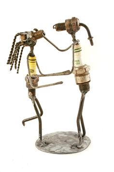 Recycled Spark Plug Lovers Sculpture | • ART & SCULPTURE