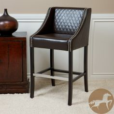 Christopher Knight Home Milano Brown Quilted Bonded Leather Bar Stool | Overstock.com Shopping - The Best Deals on Bar Stools
