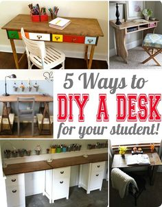 DIY Furniture | 5 Ways to Build a Desk for Your Student ~ Here are five fabulous knock off projects to build a desk that's high on style and easy on the budget!