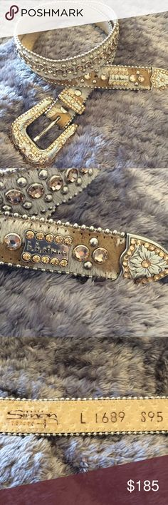 White and cream crystal belt Bb Simon belt. Swarovski crystals and horsehair strap. Silver studs. Size L BB Simon Accessories Belts